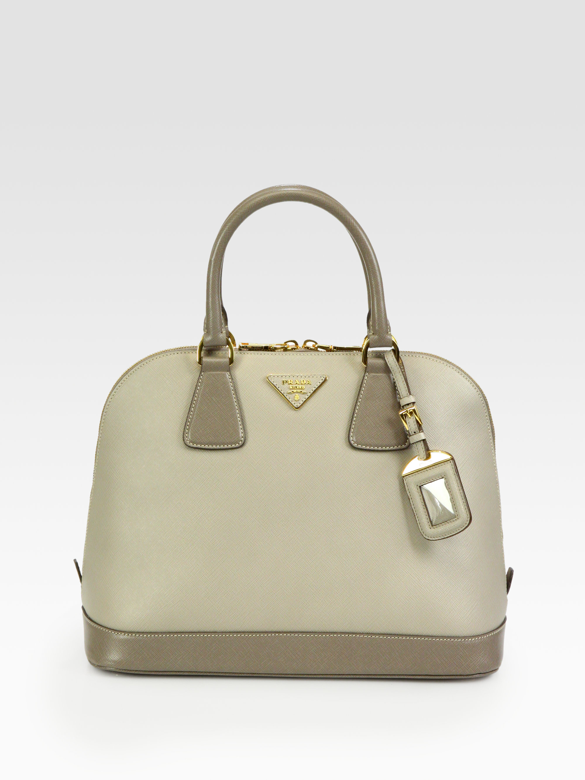 Prada Saffiano Lux Bicolor Top Handle Bag in Gray (grey) | Lyst