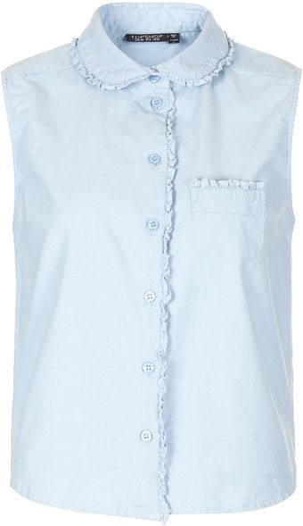 Topshop Chambray Frill Collar Shirt - Lyst