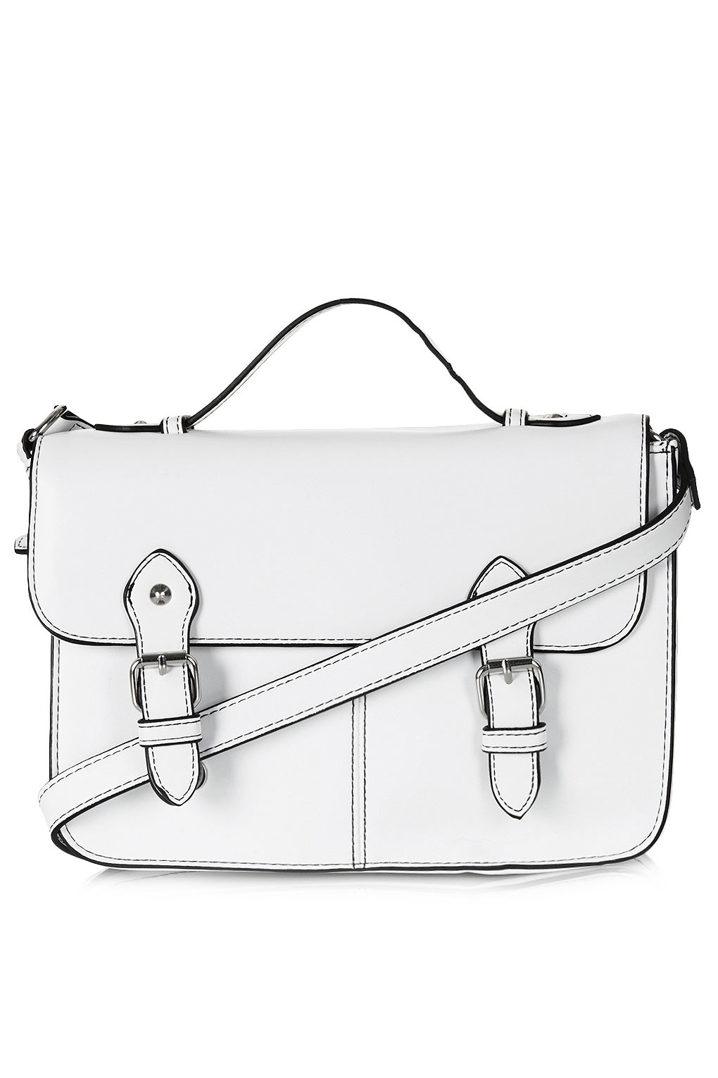 Topshop Edge Paint Satchel in White | Lyst