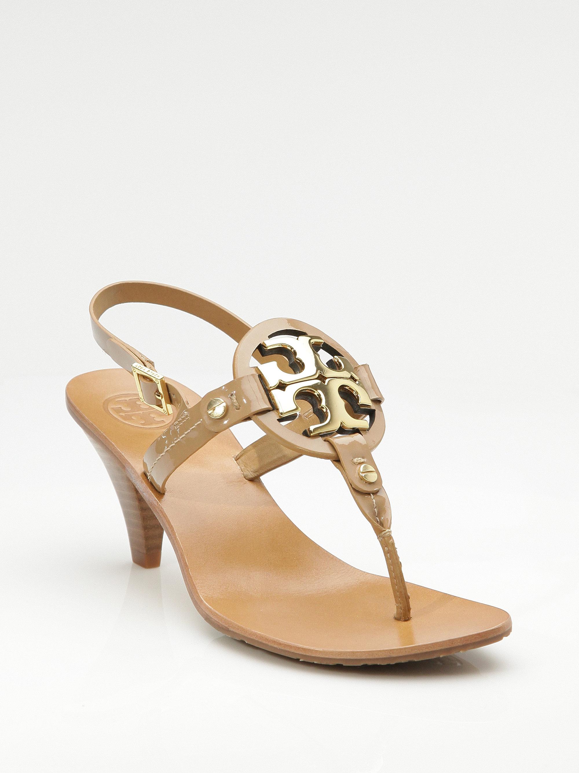 1609f703b5e4 Lyst - Tory Burch Holly 2 Kitten Heel Logo Patent Thong Sandals in ...