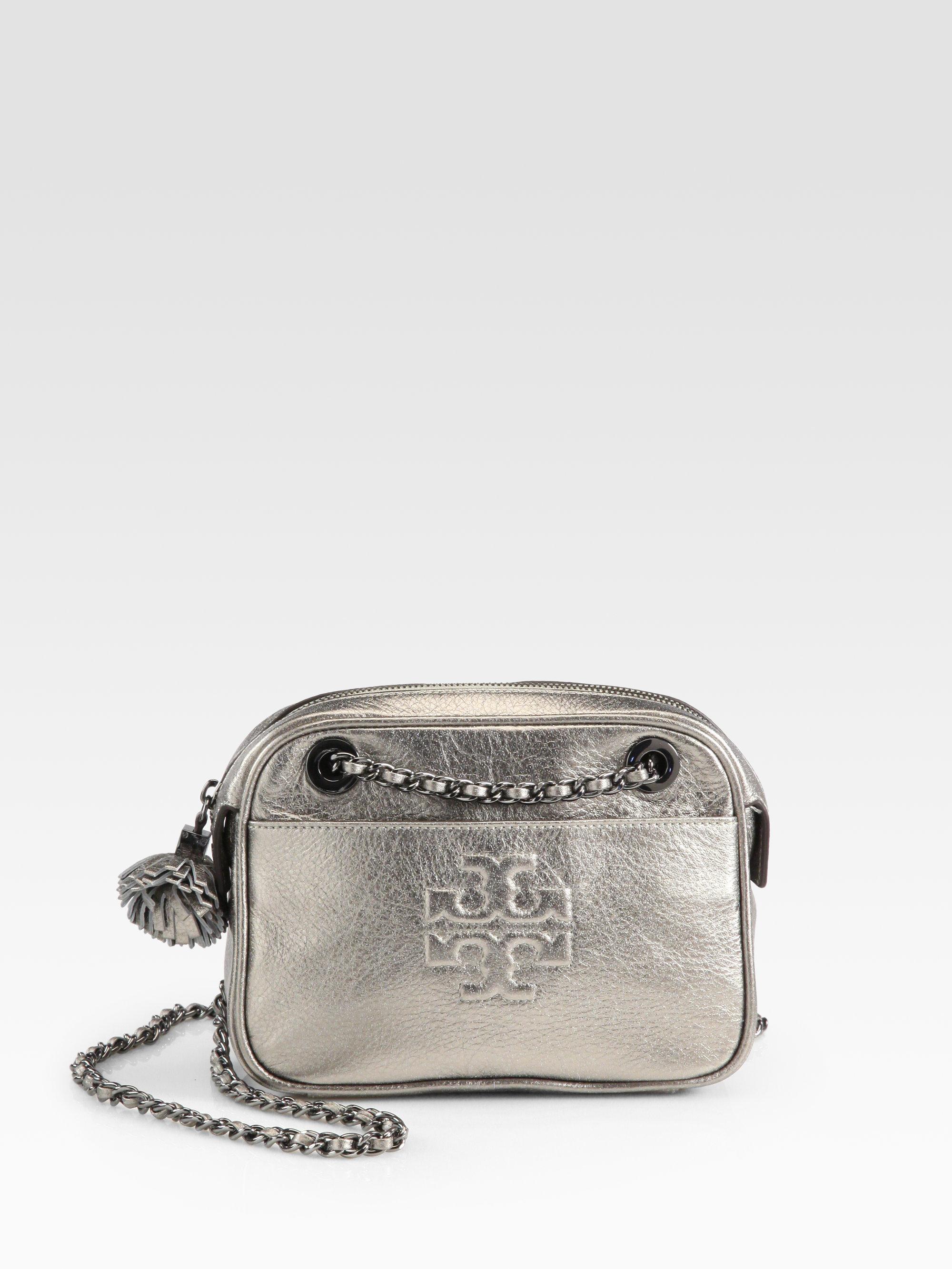 b07a6a10d8993 Lyst - Tory Burch Thea Metallic Crossbody Chain Bag in Metallic