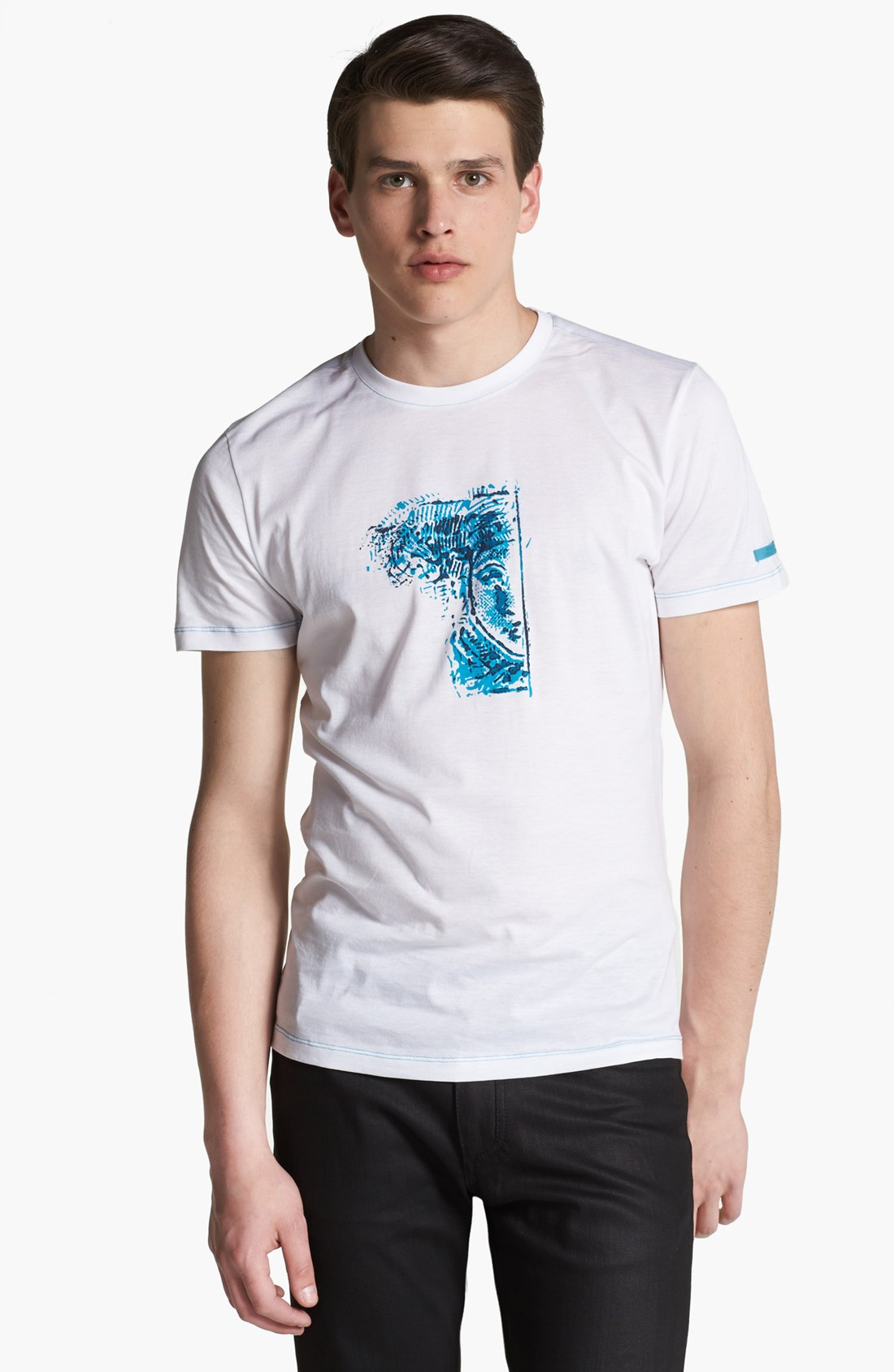 Versace half medusa tshirt in white for men white blue for Blue and white versace shirt