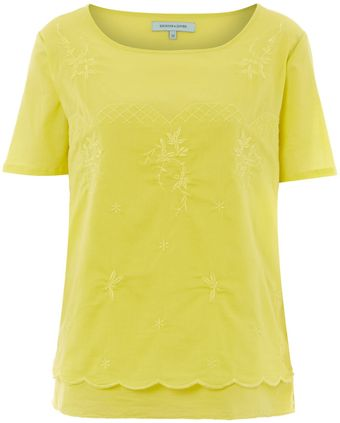 Dickins & Jones Ladies Cotton Voile Embroidered Top - Lyst