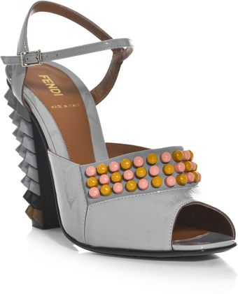 Fendi Polyfonia Studded Sandals - Lyst