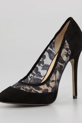 French Connection Cybil Lacedetail Suede Pump - Lyst