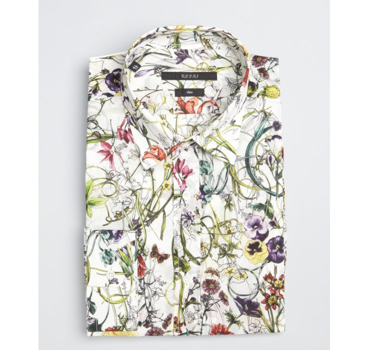 Gucci White Floral Print Cotton Point Collar Dress Shirt for Men ...