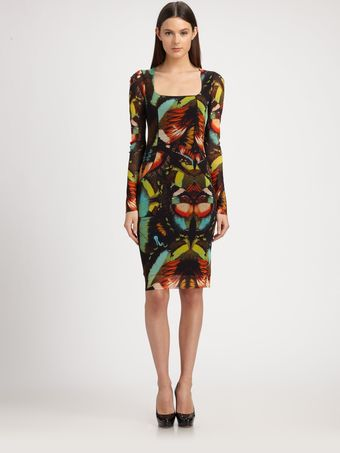 Jean Paul Gaultier Butterflyprint Stretch Jersey Dress - Lyst