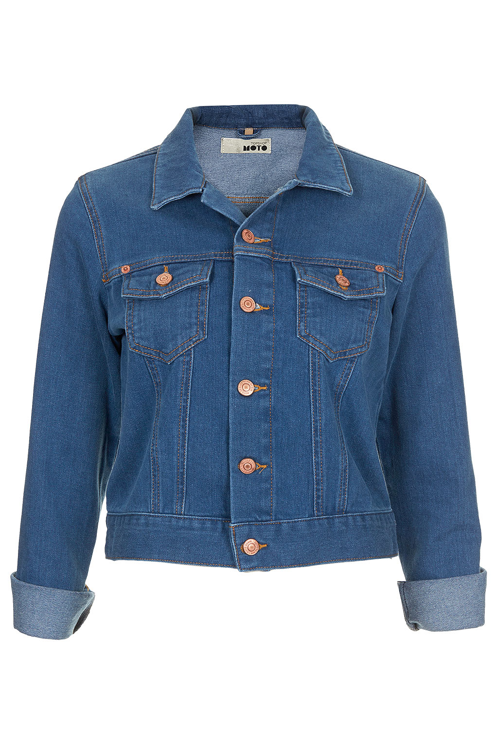 Topshop 70s blue denim western jacket in blue lyst for Womens denim shirts topshop
