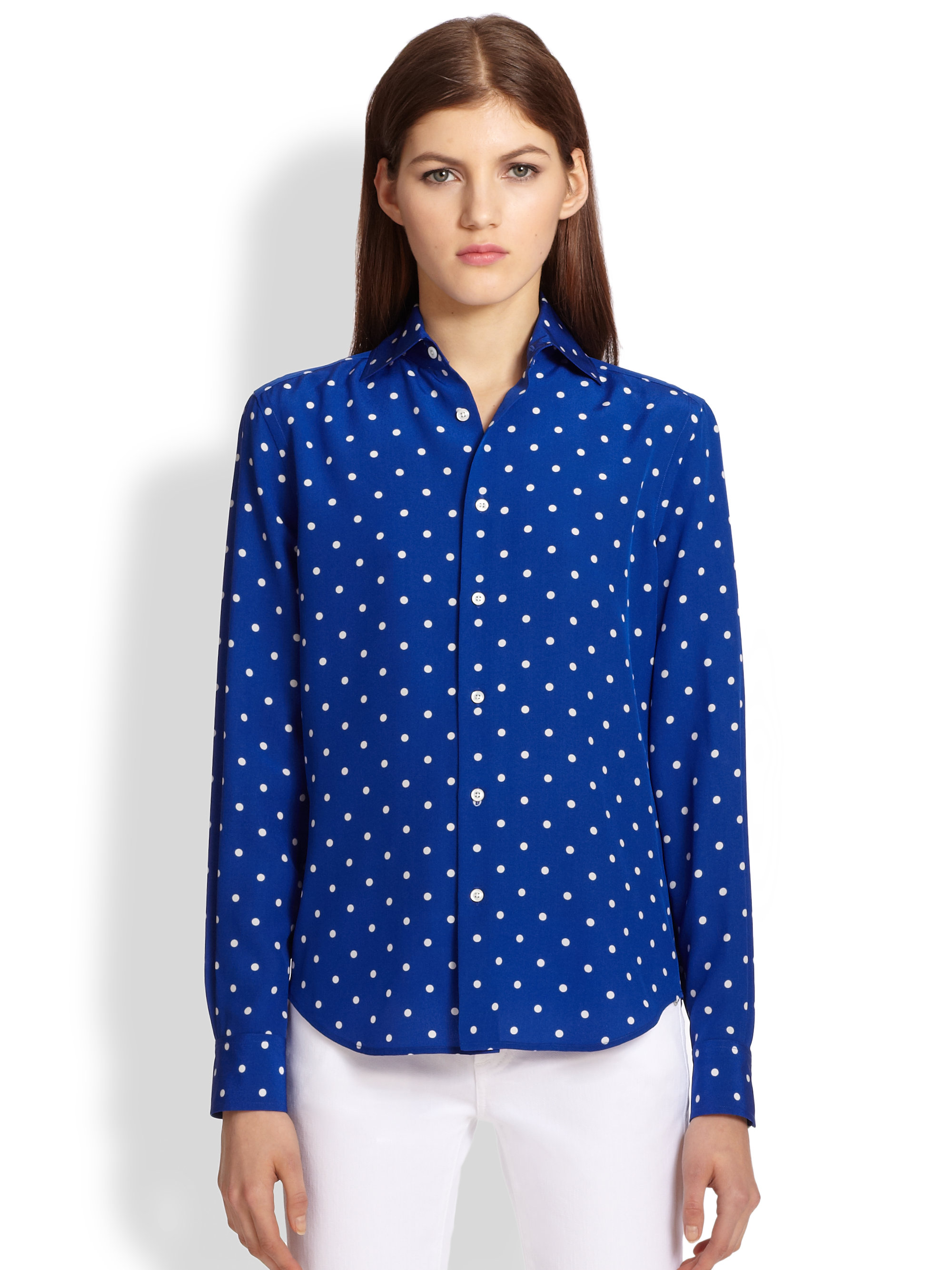 0f38ffe0c78ed Lyst - Ralph lauren black label Caitlin Silk Polka Dot Shirt