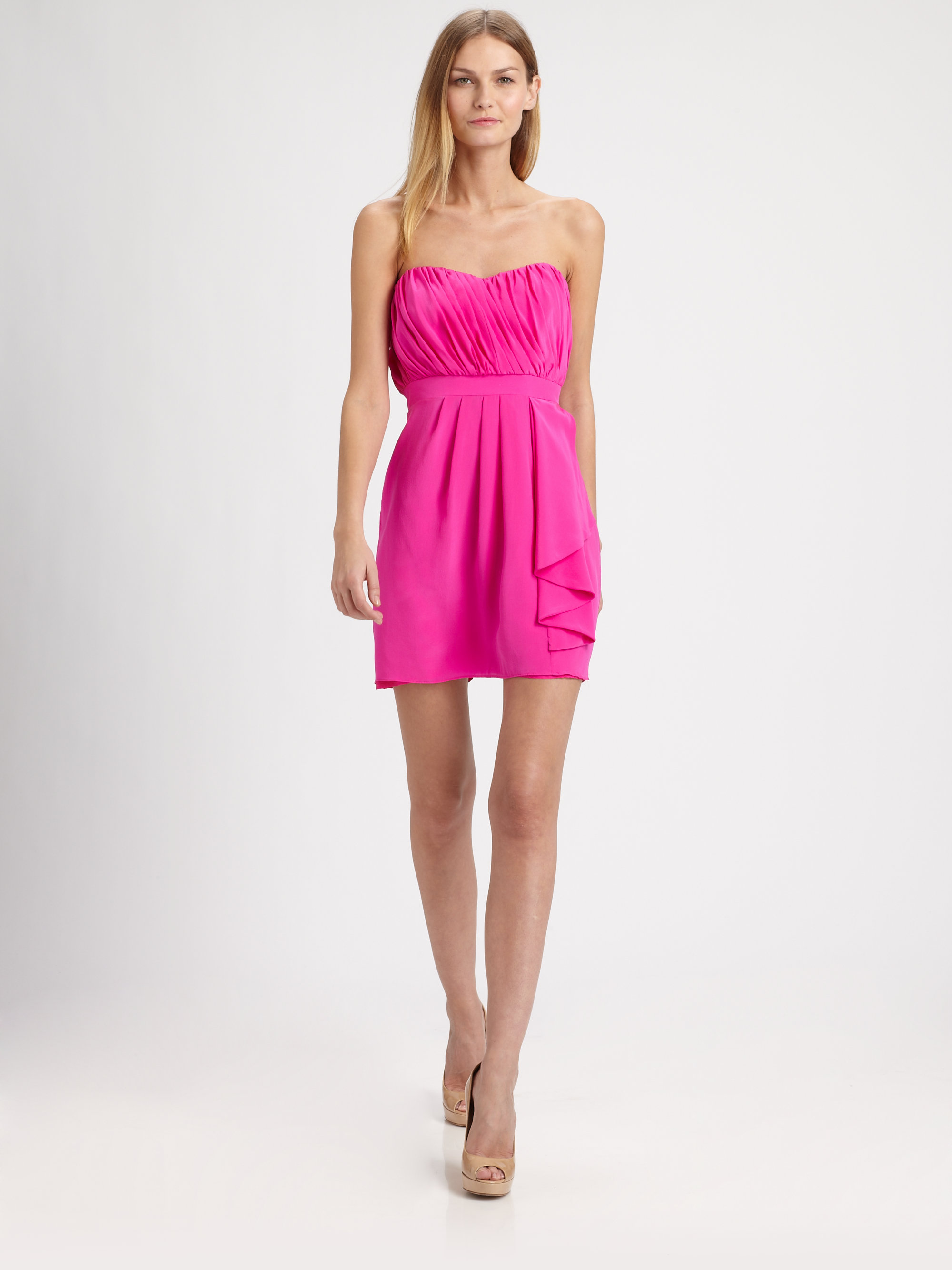 907390835392 Lyst - Shoshanna Silk Courtney Dress in Pink