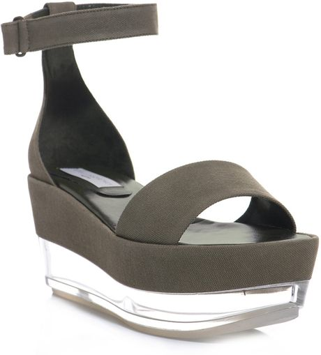 Stella Mccartney Canvas and Persepx Flatform Shoes in Gray (khaki