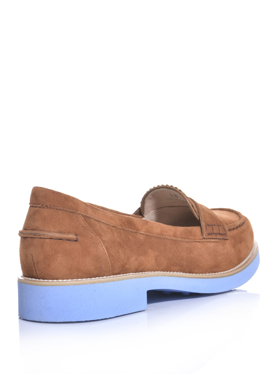 3d04edafa94 Lyst tods suede bicolour loafers in brown jpg 950x1267 Tan womens loafers