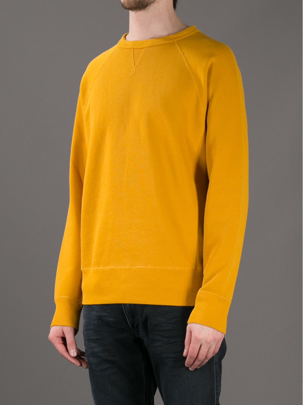 Acne studios Crew Neck Sweater in Yellow for Men | Lyst