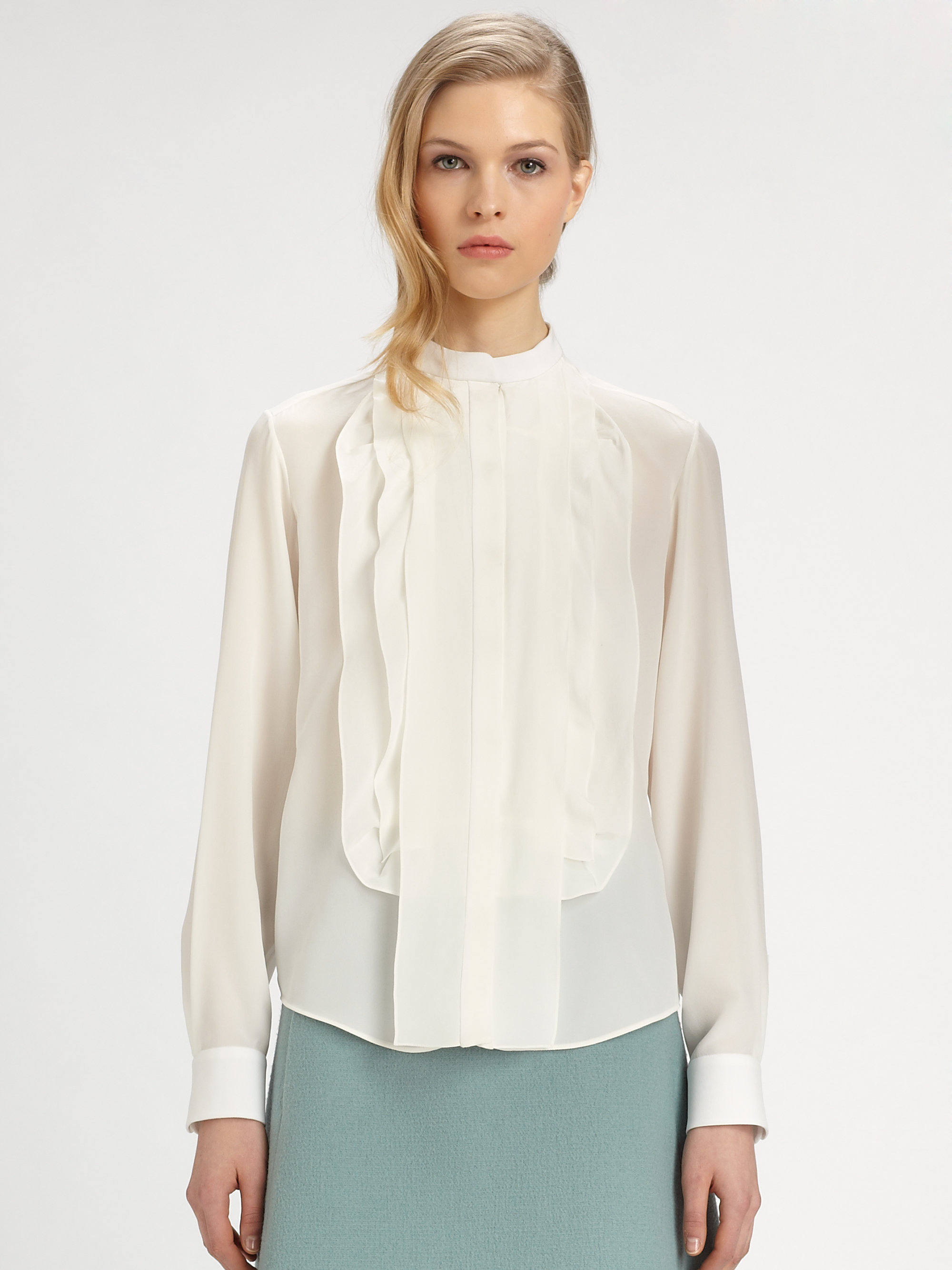 e0841676c17ba Lyst - Chloé Silk Ruffle Blouse in White
