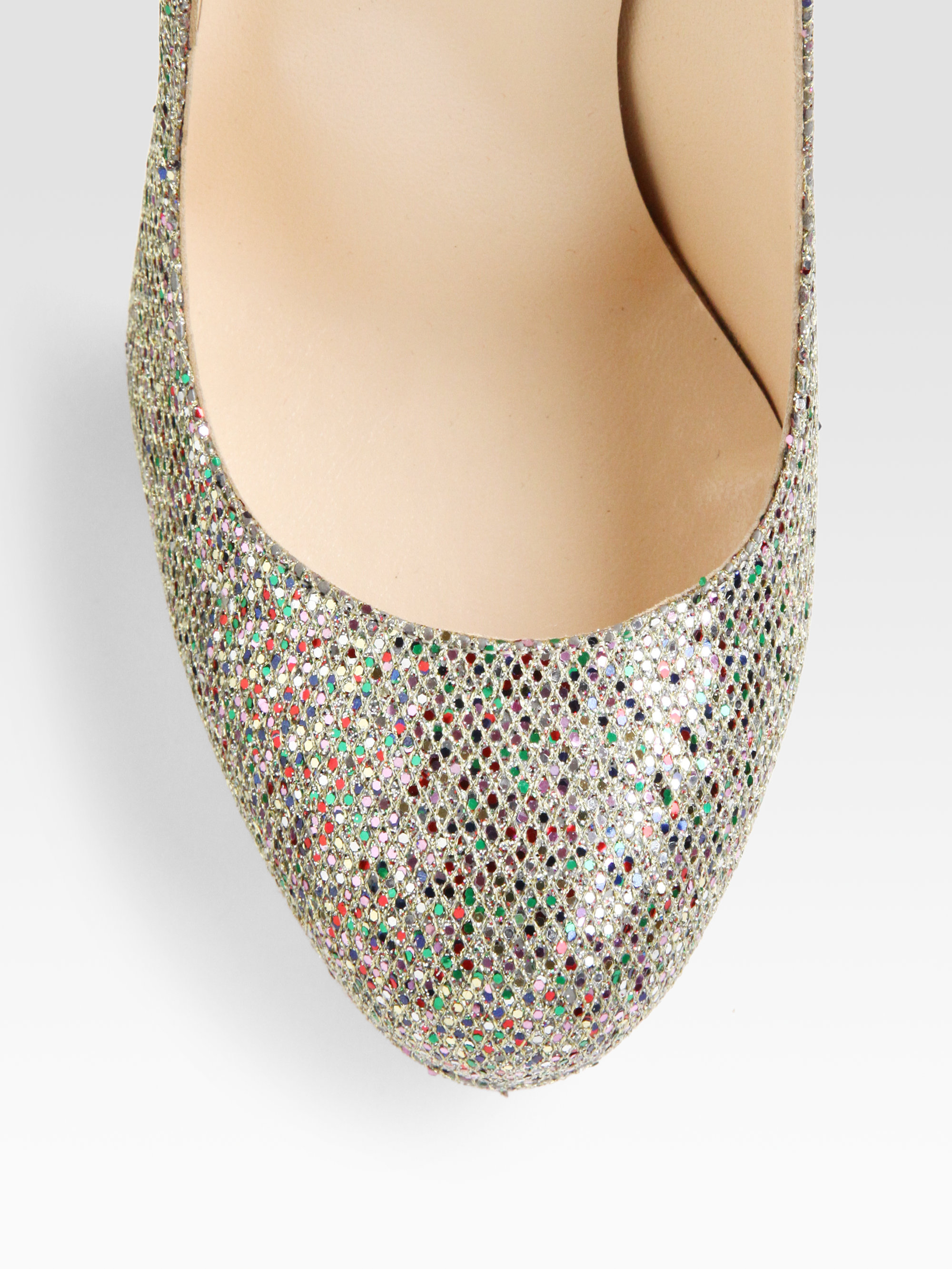 Christian louboutin Bibi 140 Glitter Pumps in Gold (glitter multi ...