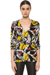 Equipment Lahaina Printed Sandy V-neck in Black Multi - Lyst