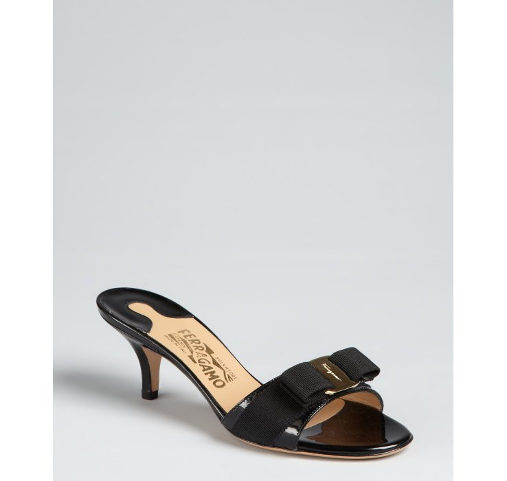 Ferragamo Black Patent Leather Grosgrain Bow Kitten Heel Sandals ...