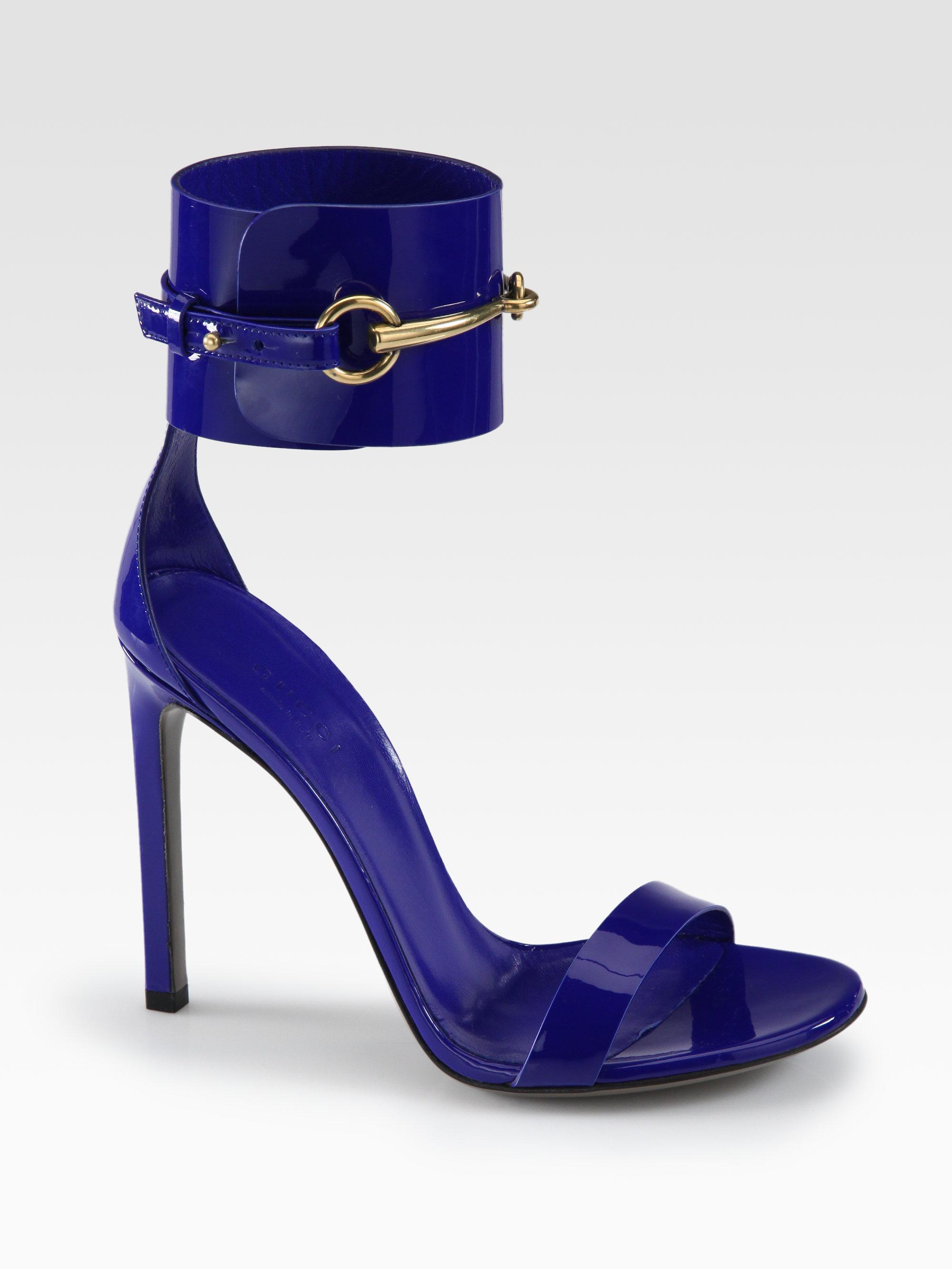 c4d02d2f187 Lyst - Gucci Ursula Patent Leather Horsebit Ankle-Strap Sandals in Black
