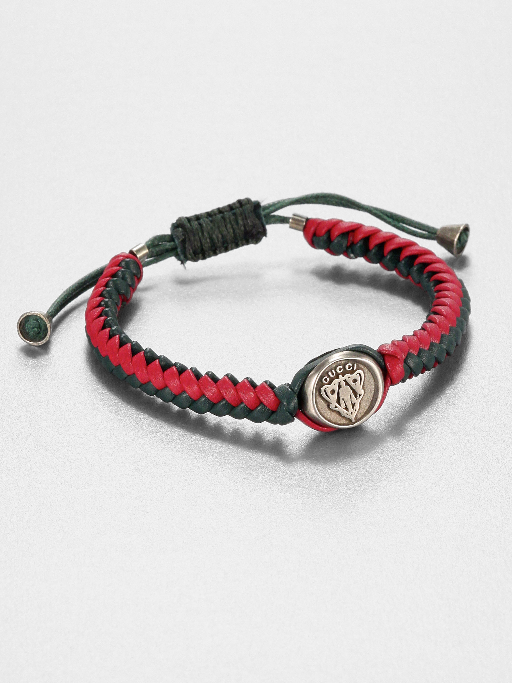6b3e0a293 Gucci Woven Leather Bracelet in Red for Men - Lyst