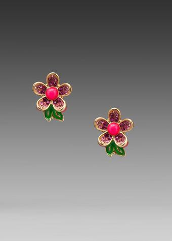 Juicy Couture Colorful Pave Flower Stud Earring in Neon Pink - Lyst