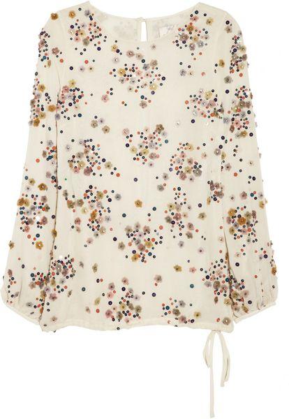 Lela Rose Embellished Silkchiffon Blouse in White