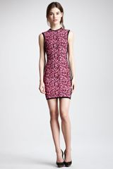 McQ by Alexander McQueen Sleeveless Popcorn Knit Dress Shocking Pinkblack - Lyst