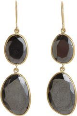 Pippa Small Hematite Double Drop Earrings - Lyst