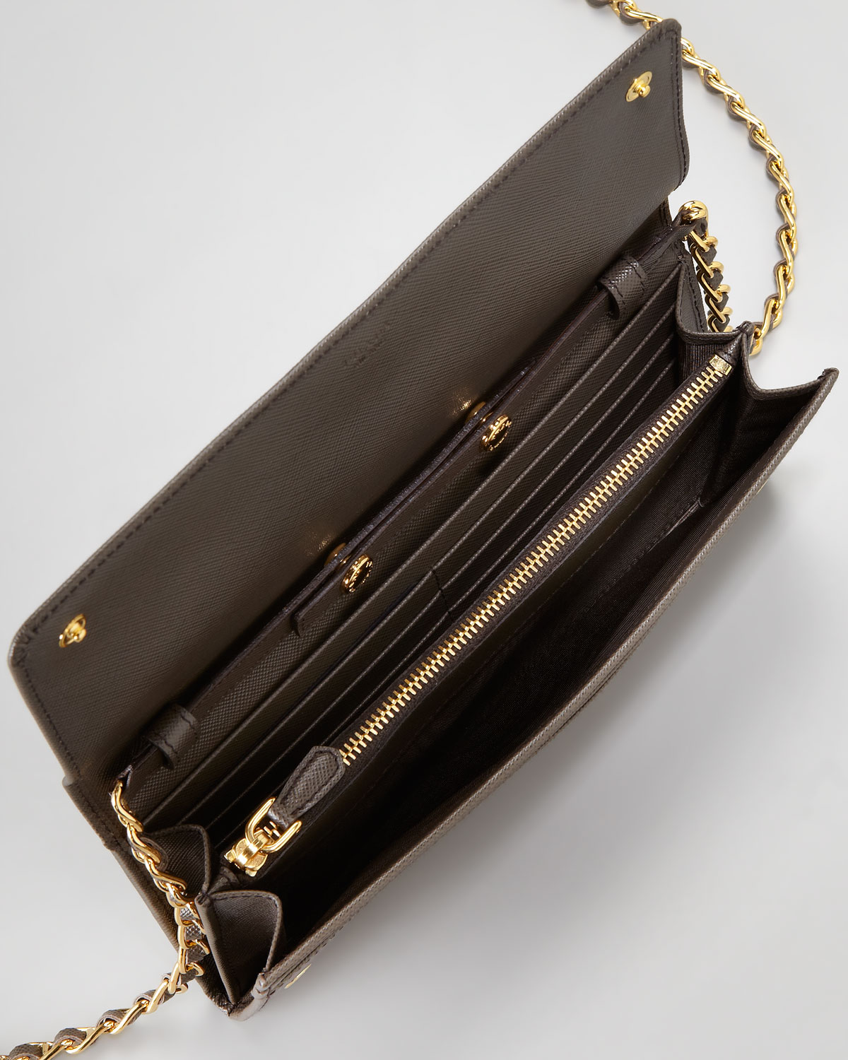 Lyst Prada Saffiano Wallet On A Chain In Black