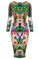 Topshop Botanical Floral Bodycon Dress - Lyst