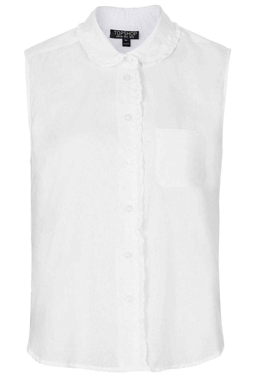 Topshop Sleeveless White Stripe Shirt in White   Lyst