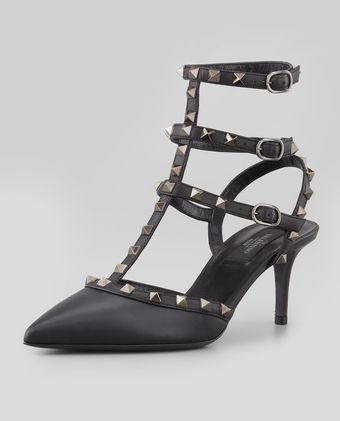 Valentino Noir Rockstud Leather Sling Back - Lyst
