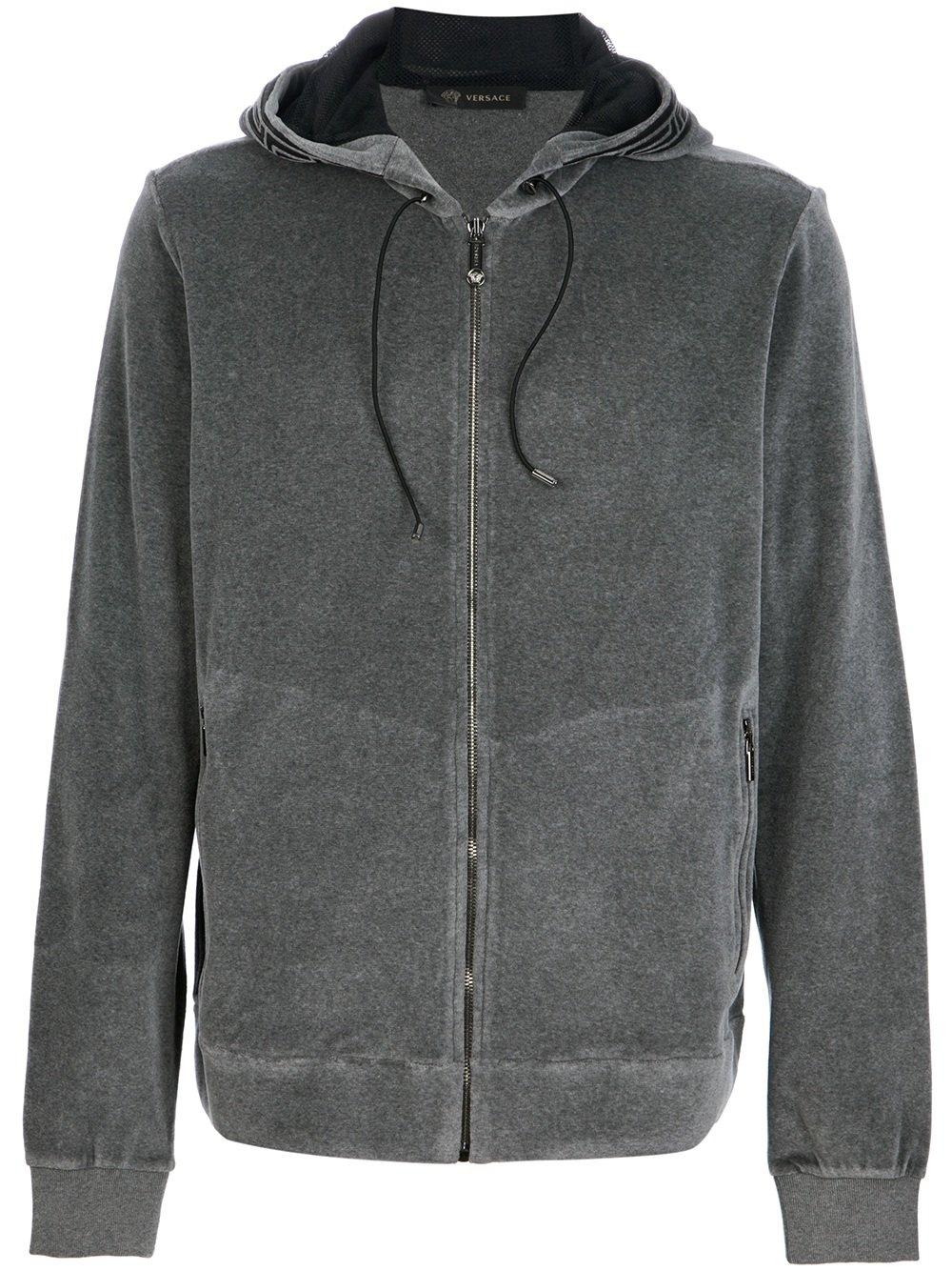 Versace Velour Hoodie in Gray for Men (grey) | Lyst