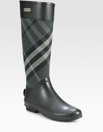 Burberry Clemence Check Canvas Rain Boots - Lyst