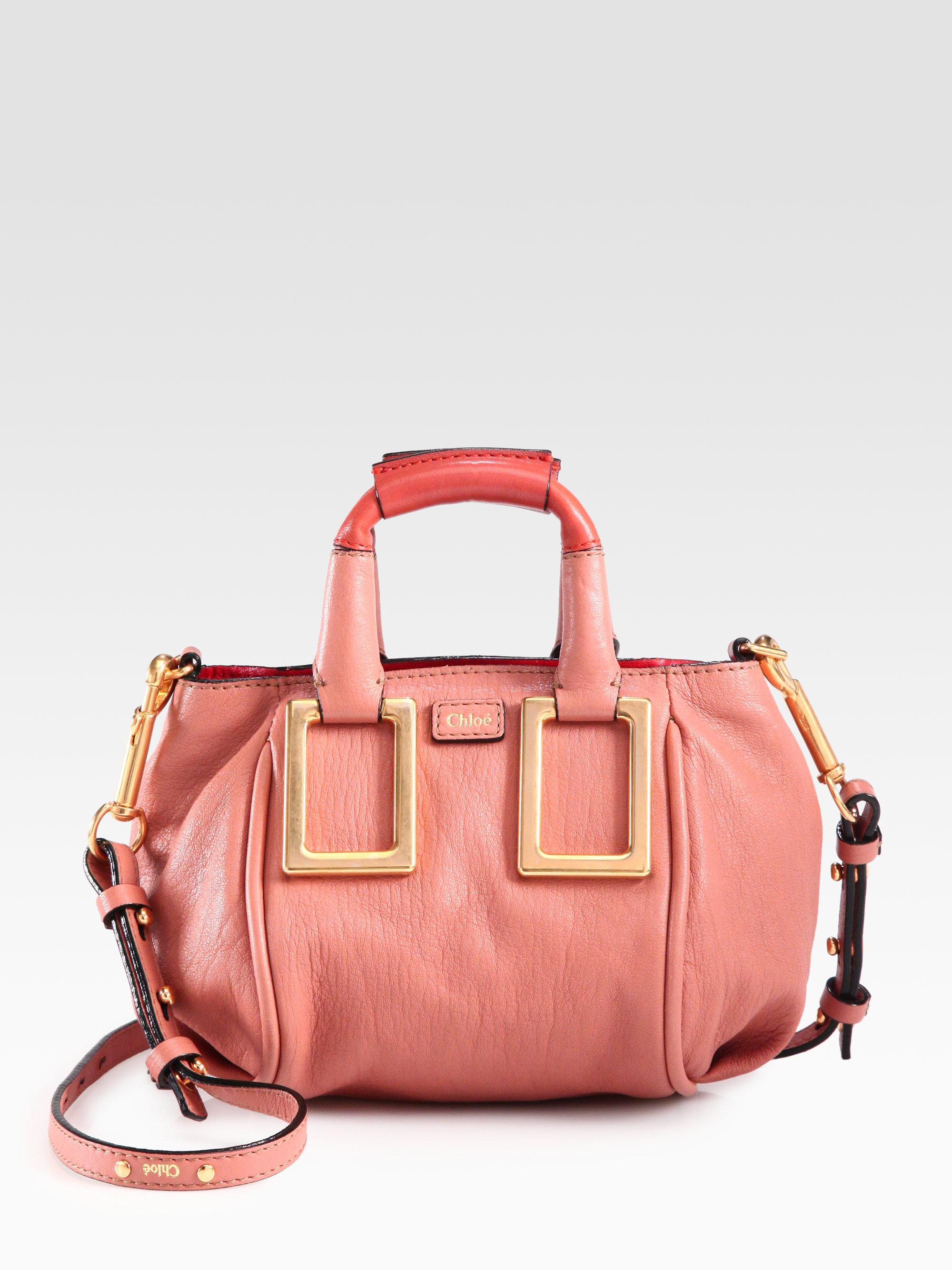 Lyst - Chloé Mini Ethel Leather Crossbody Bag in Pink 663ab2a4b