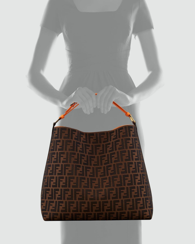 Fendi Zucca Large Hobo Bag in Brown (brown orange trim)  36796f485459a