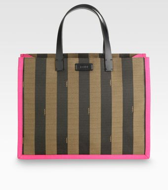 Fendi Pequin Busta Striped Canvas Tote - Lyst