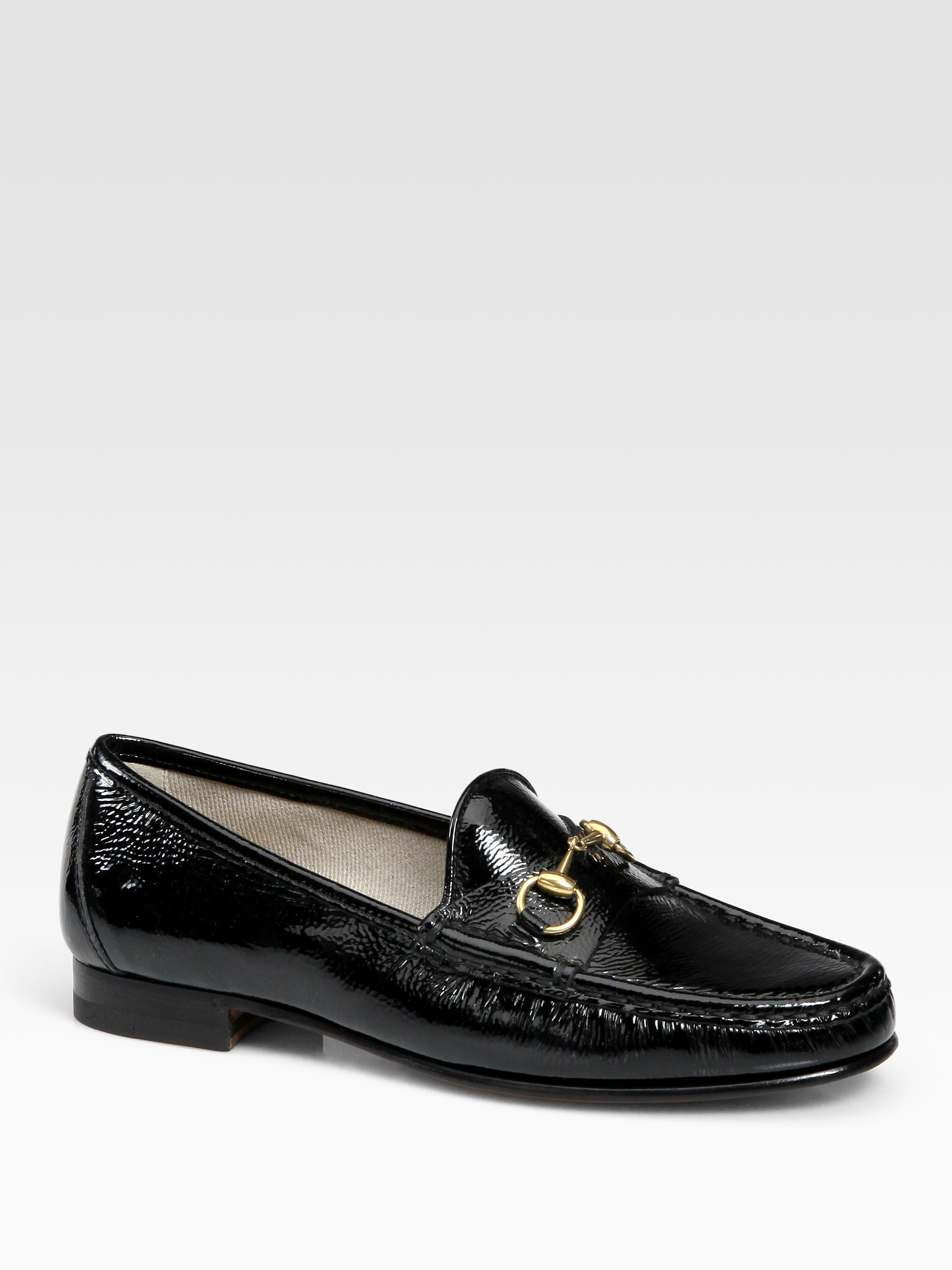 a365f7a18 Gucci Patent Leather Horsebit Loafers in Black - Lyst