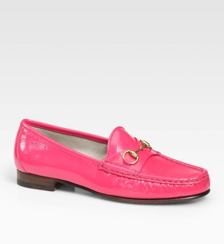 Gucci Patent Leather Horsebit Loafers in Pink (brightpink ...
