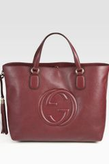 Gucci Soho Medium Tote Bag in Red (burgundy) - Lyst