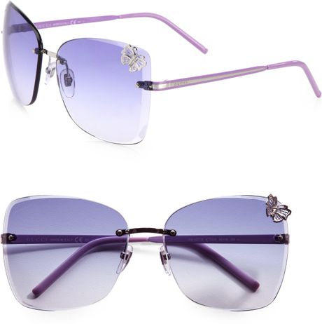 Rimless Butterfly Glasses : Gucci Rimless Butterfly Sunglasses in Blue for Men (lilac ...