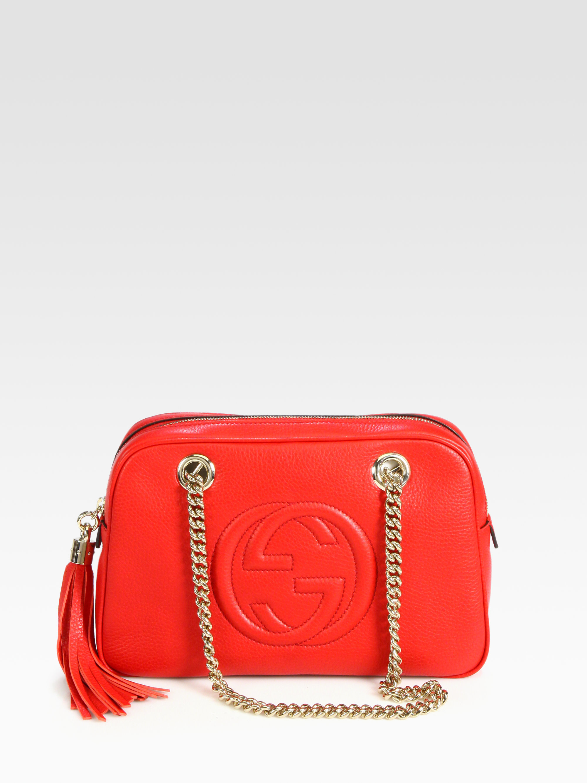 Gucci Soho Leather Shoulder Bag in Red | Lyst