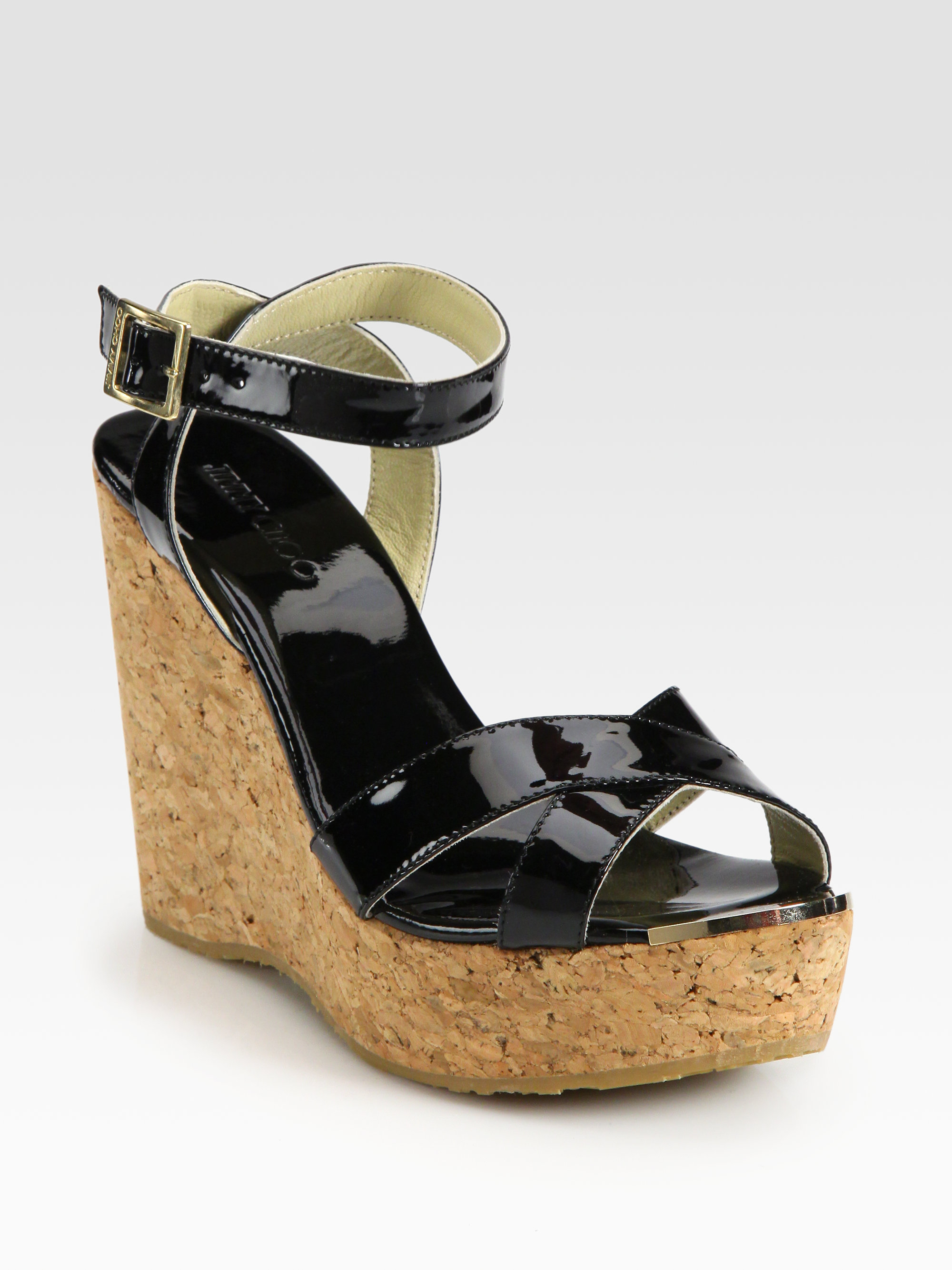 4b11b87a2a Jimmy Choo Papyrus Patent Leather And Cork Wedge Sandals in Black - Lyst