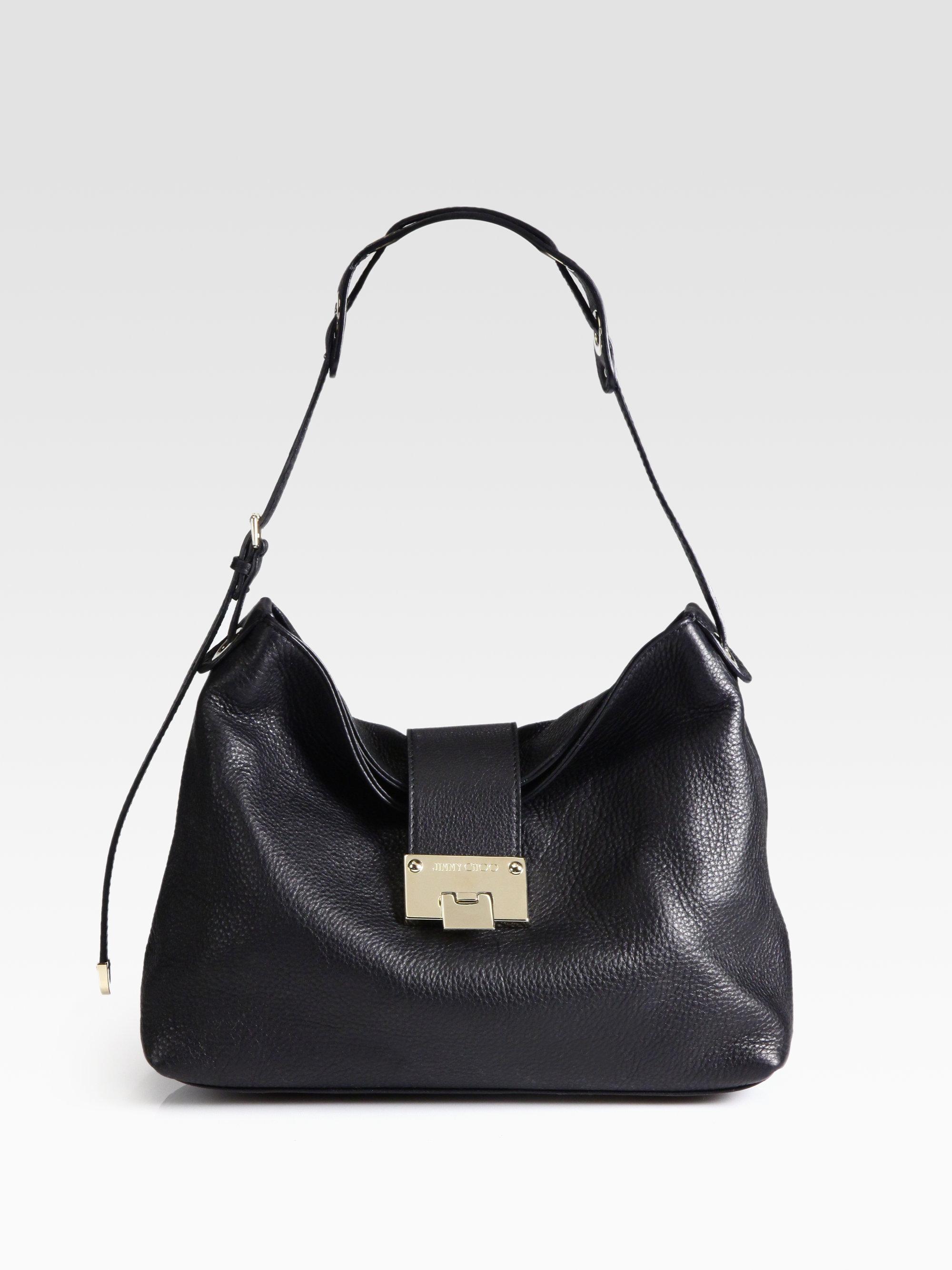 a4061e0669e Lyst - Jimmy Choo Rachel Grainy Calf Leather Shoulder Bag in Black