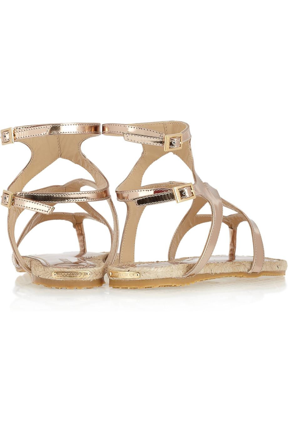 d58899ef2ed0 Lyst - Jimmy Choo Peachy Metallic Leather Gladiator Sandals in Metallic