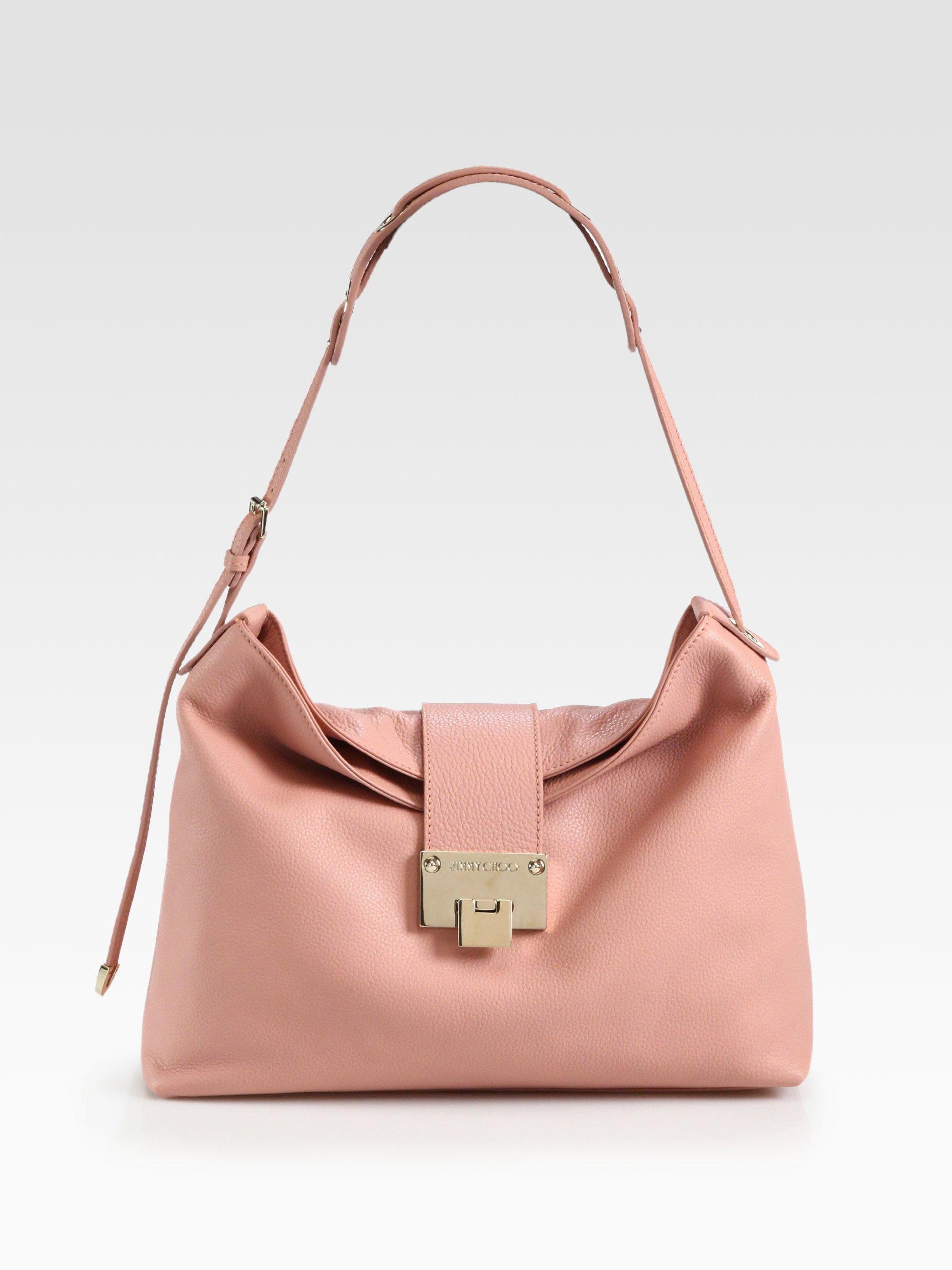 2ef1ec6da38 Lyst - Jimmy Choo Rachel Grainy Calf Leather Shoulder Bag in Pink