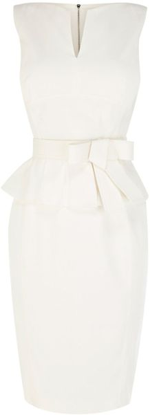 Karen Millen Signature Cotton Peplum Dress - Lyst