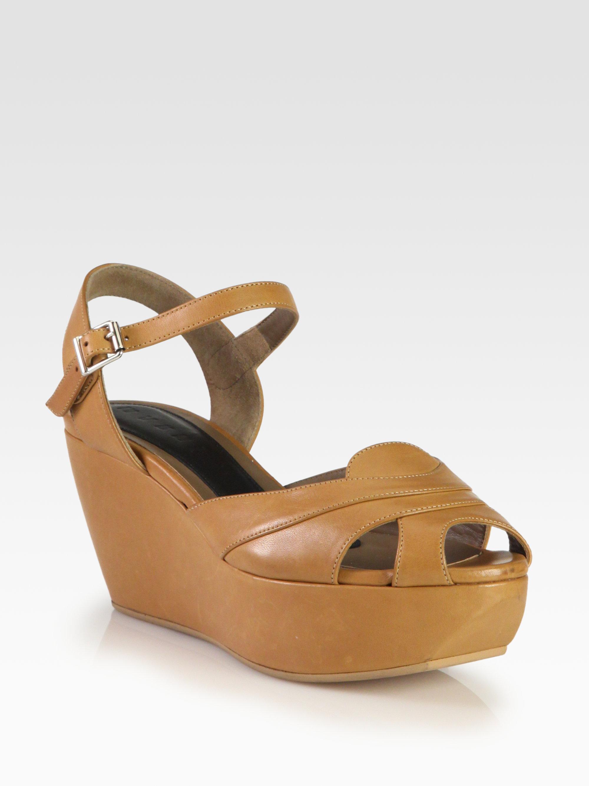 41f41ba3cf3 Lyst - Marni Leather Platform Wedge Sandals in Brown