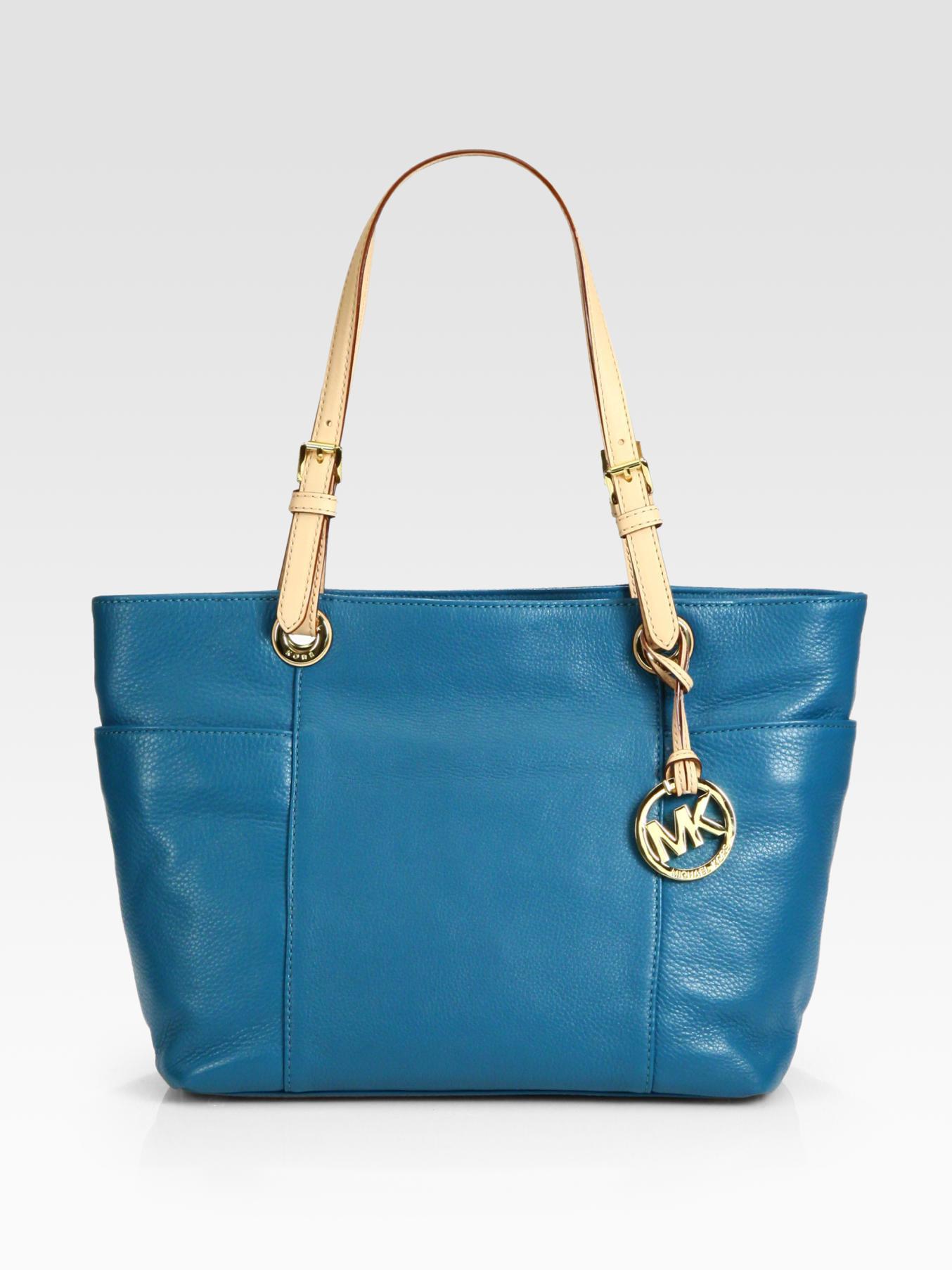 michael michael kors top zip tote bag in blue turquoise