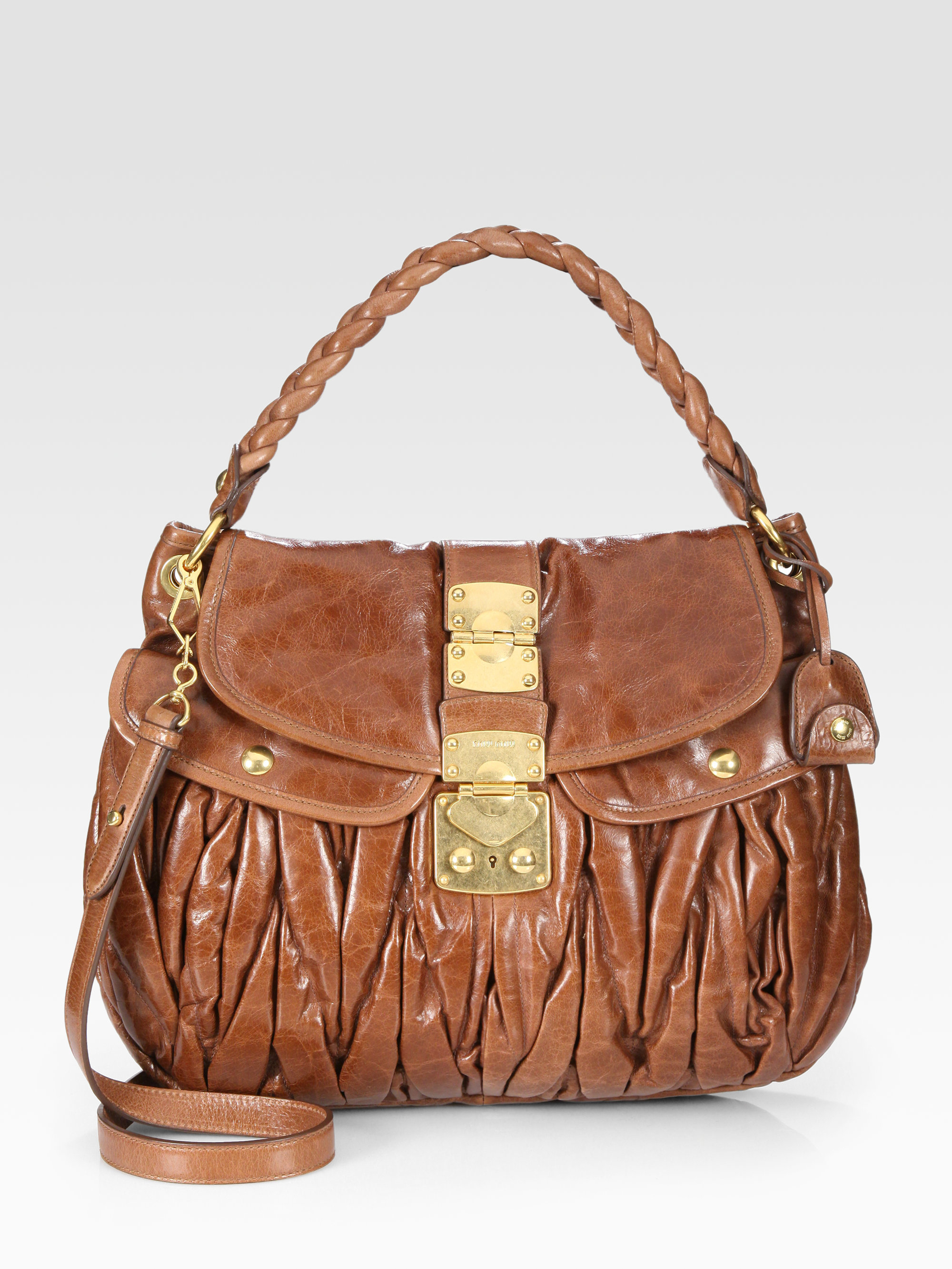 Lyst Miu Miu Matelasse Lux Convertible Shoulder Bag In Brown