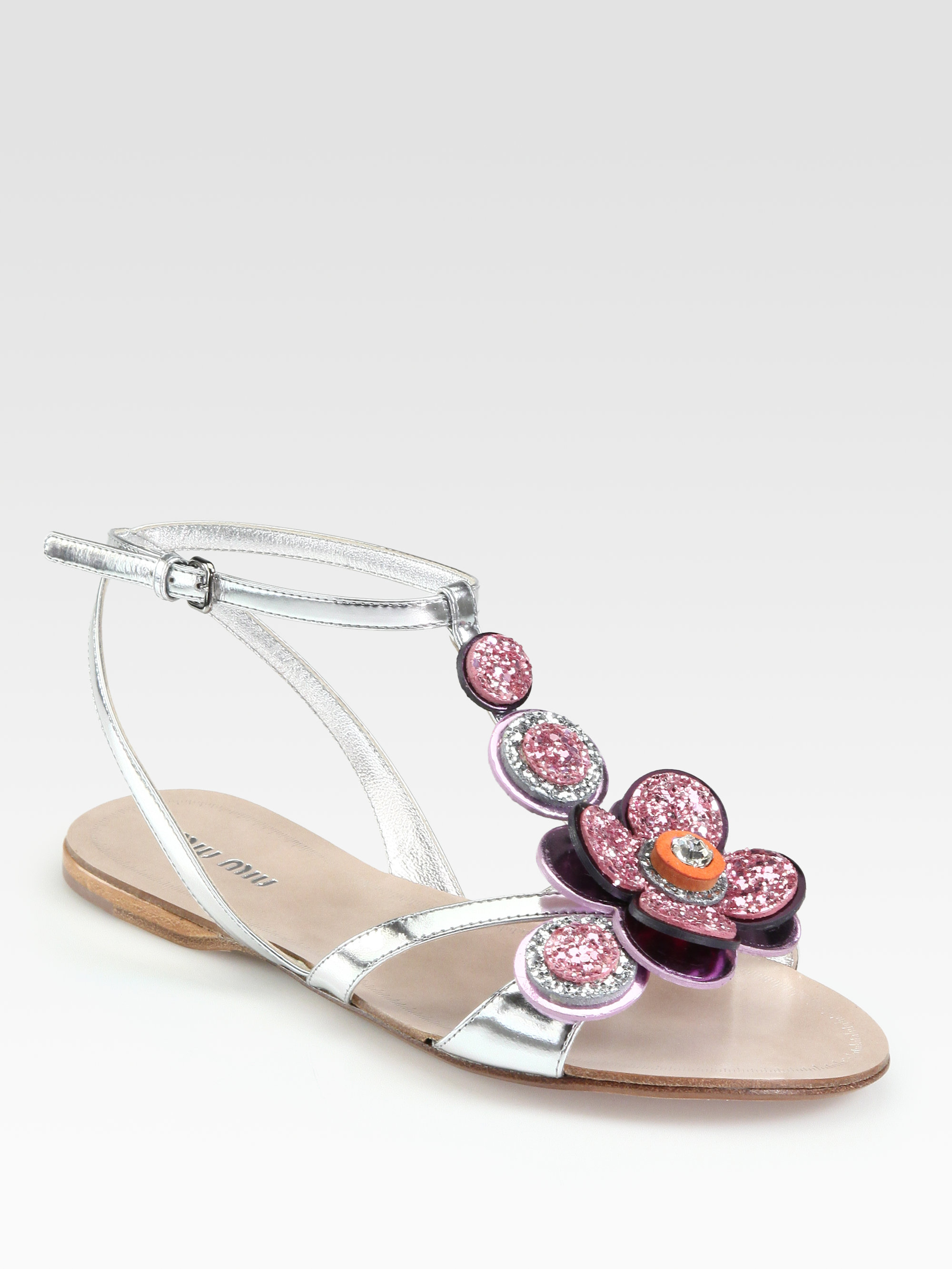 rhinestone embellished metallic sandals Miu Miu